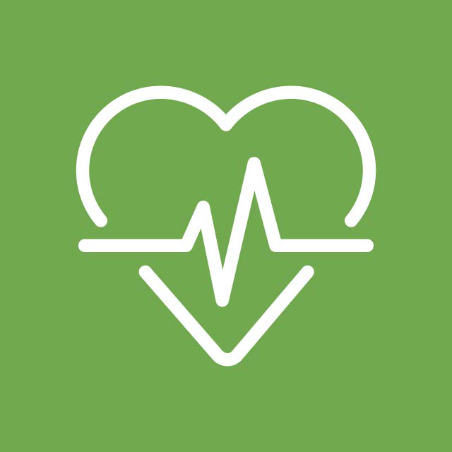 health and wellbeing - represented by a heart and EKG